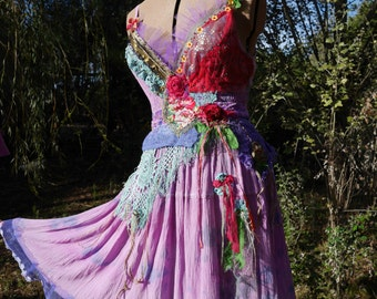 Wonderful romantic fairy dress, Travel to Samarkand, mauve, lilac, red, Boho dress, Wearable Art, Unique,Bohemian dress