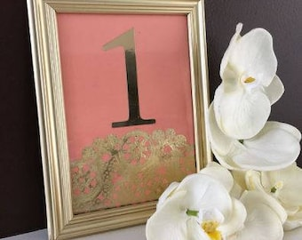 Gold and Coral Table Number