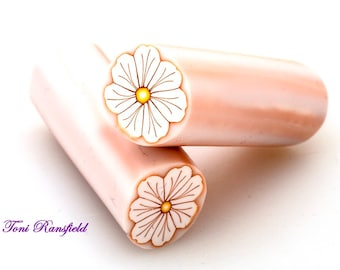 White Ruffled Flower with Gold Outline Polymer Clay Cane, Raw polymer Clay Cane, Millefiori Polymer Clay