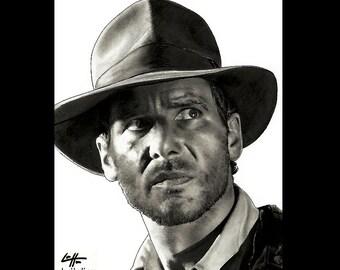 "Print 11x14"" - Indiana Jones Raiders of the Lost Ark Adventure Harrison Ford 80s Fantasy Pop Art Dark Art Kingdom Temple Crusade Vintage"