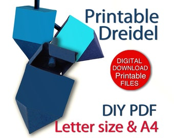 Printable Hanukkah Dreidel Gift Box Download A4 and Letter Size