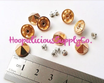 16pc. 10mm DOME STUDS- Faceted- Screw Back- 8 Tops & 8 Screw Backs. Available in Silver, Gold, Brass, and Gun Metal. Choose Finish.