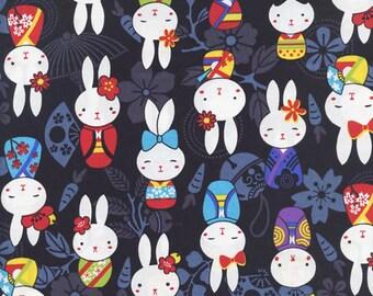 Cute Whimsical Bunnies in Kimonos: Black Asian Japanese Fabric  (By the Half Yd)