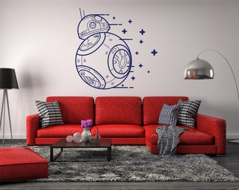 BB-8 Star Wars Wall Sticker The Force Awakens Vinyl Droid Decal Childrens Room Stencil Gift