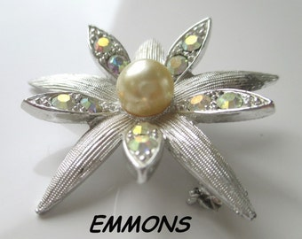 EMMONS Flower Pin/Brooch * Aurora Borealis Crystals * Faux Pearl * Classic Vintage