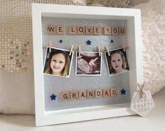 Personalised Grandparent Frame, Grandparents Christmas Gift Ideas, Grandad Gift, Grandma Gift, Nanny Gift, Photo Peg Frame, Birthday Gift
