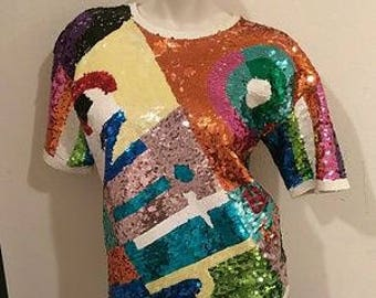 Adrienne Vittadini fully sequined Top