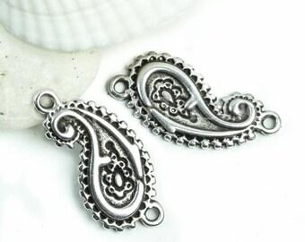 25%OFF Paisley leaf Link Connector yoga namaste Bracelet Pendant 2 loop Greek metal casting focal bead Charm Silver Plated P85 2 pcs