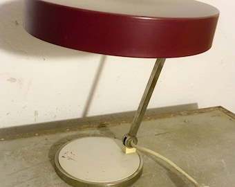 50s desk lamp with red shade