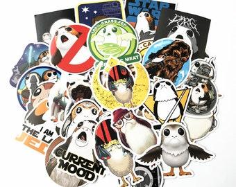 Porg Stickers Pack (x40)- Vinyl Porglet Sticker - Chewbacca Stickers - Star Wars Stickers - Cartooned Stickers - Rebel