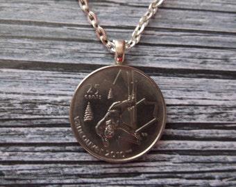 Canada Coin Necklace - Vancouver Ski Coin Pendant - Coin Necklace - 2010 Canada Coin