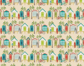 Offshore Beach Themed Fabric by Deena Rutter ~ Beach Huts on Tan ~ Riley Blake Designs ~ Woven Cotton by the Yard