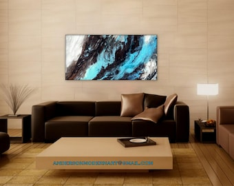 """Fluid Acrylic Large Wall Art Abstract Textured Painting Contemporary  Artwork """" Tidewater Glaciers""""   ON SALE"""