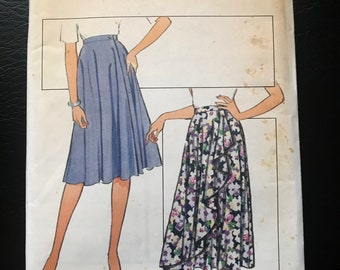 Style 1980s Front Wrap Bias Skirt Sewing Pattern / Vintage 80s Misses Wrap Skirt / Size 12 / 3011