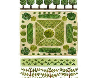 LARGE Parterre Garden No. 3 Print, watercolor reproduction, giclee print, garden plan, english garden illustration, botanicals