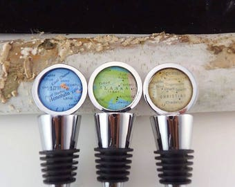 Custom Map Bottle Stopper, Wine, Oil or Vinegar Stopper, Keep a Memory Alive