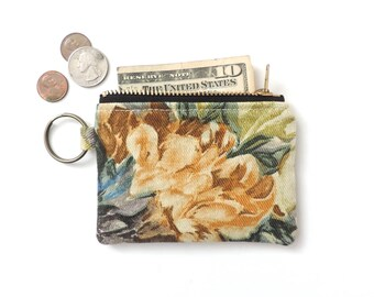 Keychain Coin Purse Slim Wallet Zipper Pouch Painted Floral