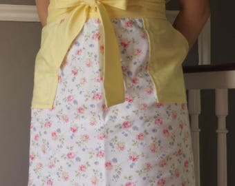 Half Apron - Yellow and White Floral