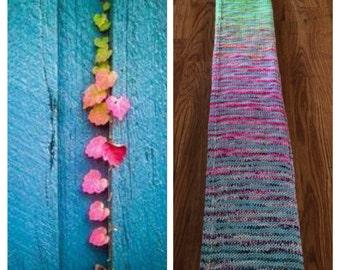 Florescent Gradient with Aqua contrast Self Stripe Gradient Sock Yarn