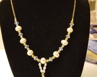 pearl, crystal and gold hand crafted necklace