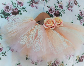 SALE Pretty Pink, Peach, Ivory and Lace tutu. Flowergirl/bridesmaid/birthday/cake smash.