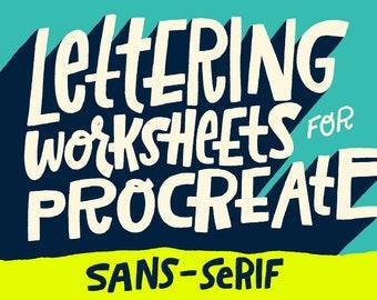 Sans-Serif Digital Lettering Worksheet for Procreate and Photoshop