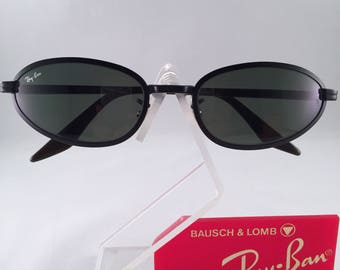 Vintage Ray Ban Bausch And Lomb Black Metals Oval Round G15 Sunglasses NOS