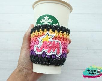 80's Hologram Coffee Cup Cozy { Jem } ombre, cartoon, crochet mug sweater starbucks, water bottle, crochet
