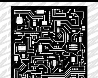 Circuitboard Cutout - SVG, DXF, PNG, Digital Download, Cut file, Scrapbooking, Stencil, Cutout, Circuit