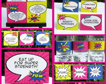 Girl Superhero Party Invitations & Decorations - full Printable Package - INSTANT DOWNLOAD with EDITABLE text - you personalize at home