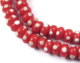"""18"""" Rondelle Glass Lampwork Christmas Beads-RED + IVORY DOTS 5x9mm (88)"""