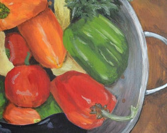 """Print of Original Acrylic Painting Vegetable Art, Peppers, Kitchen Art """"The More the Merrier"""" by NJ Artist Linda Robinson"""