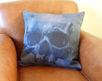 Skull Cushion, smoky skull home decor