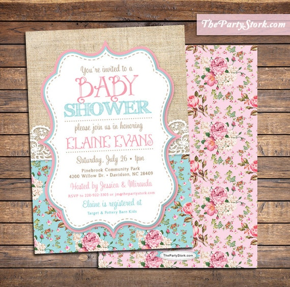 Shabby chic baby shower invitations baby sprinkle invitation like this item filmwisefo Images