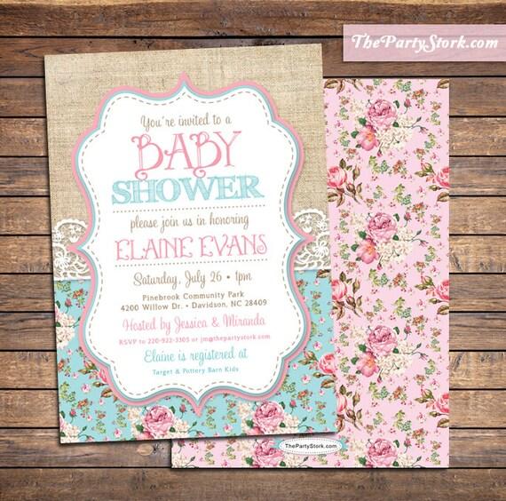 Superior Shabby Chic Baby Shower Invitations Baby Sprinkle Invitation