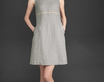 Gray linen dress, natural linen dress, woman dress, dress for summer, linen summer dress, linen clothing, linen clothes, women dresses