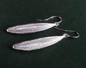 Sterling silver leaf earrings, silver olive leaf earrings, drop earrings, Valentine's Day gift for her
