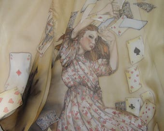 silk shawl Alice and the card game