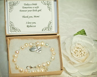 Vintage Pearls Mother of the Bride Bracelet -SP- Vintage Gift Card -- Mother's Day Bracelet -- Authentic Freshwater Pearls