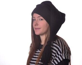 Black Stocking Cap Long Pointed Hat with Tassel  Warm Winter Beanie Elf Cap Sock Hat