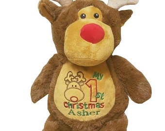 Reindeer Christmas personalized stuffed animal - Christmas keepsake