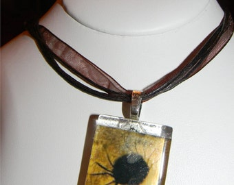 "Spooky Spider Vintage Painting Gothic Glass Neckace 18"" ribbon cabochon"