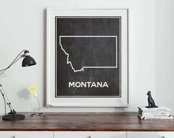 Montana Map of Montana Outline Map Chalkboard Map of Montana Poster Rocky Mountains Poster Billings Poster Great Falls Poster