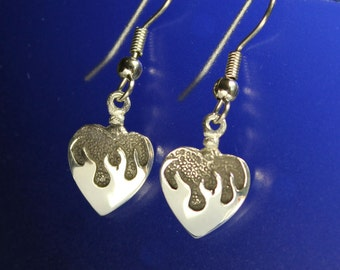 Flaming Heart Earrings Handcrafted Sterling Silver