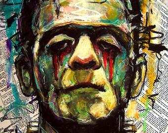 """Imprimer 8 x 10""""- triste Frankenstein - Portrait classique de Dracula monstre horreur gothique Halloween Pop Lowbrow Art foncé Vintage sang universel"""