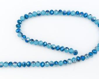 "16"" Strand 6mm x 7mm Light Blue AB Faceted Rondelle #CHR022"