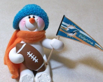 Miami Dolphins football: snowman ornament