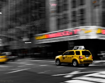 New York City,Taxi,Radio City,Abstract,Motion,Street Photography,Wall Art,Home Decor,Office Decor,Oversize Photography,Travel,Canvas Option