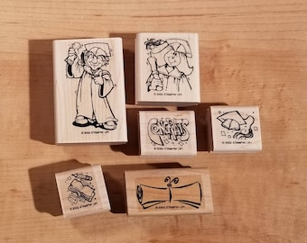 Stampin' Up Retired Set - 2002 Great Graduation - Rubber Stamp Set of 6 - RS-006