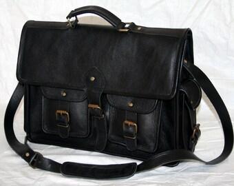 """Men's Leather Messenger shoulder Bag satchel 15"""" Laptop Briefcase Attache"""